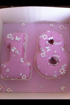 18th flower and butterfly girls birthday cake