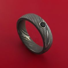 Damascus Steel Ring with Round Brilliant Black Diamond