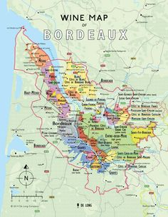 Wine map of Bordeaux France. To learn more about #Bordeaux, click here: http://www.greatwinecapitals.com/capitals/bordeaux