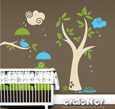Children Wall Decal Tree Wall Decal Animal - The Tree with Bird and Frog - PLYR050. $78.00, via Etsy. Green Frogs