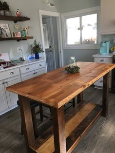 Rustic Kitchen Island Made From Reclaimed Pine Barnwood, Made to Order - Modern Classic Kitchen, New Kitchen, Kitchen Decor, Kitchen Ideas, Kitchen Inspiration, Kitchen Designs, Eclectic Kitchen, Kitchen Hacks, Minimal Kitchen