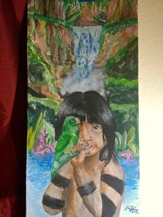 The painting made by Virág Göbölös, this is my first painting. Aquarell, 50x90 cm