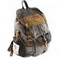 Leather and canvas combined rucksack | retro hiking pack,  unisex - possible birthday or Christmas gift!