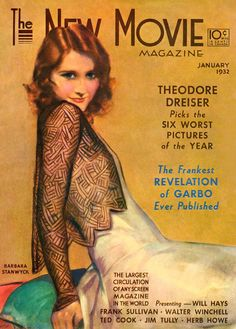 Barbara Stanwyck - Cover Art by Penrhyn Stanlaws - The New Movie Magazine - January 1932.
