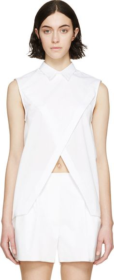 Dion Lee White Cross-Over Trace Shirt