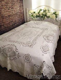 "Outstanding! Antique French Cherubs Figural Lace & Linen Coverlet 99""x83"" www.Vintageblessings.com"