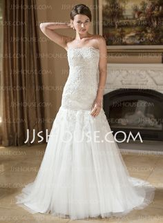 Wedding Dresses - $224.99 - Mermaid Strapless Court Train Satin Tulle Wedding Dress With Lace Beadwork (002004148) http://jjshouse.com/Mermaid-Strapless-Court-Train-Satin-Tulle-Wedding-Dress-With-Lace-Beadwork-002004148-g4148