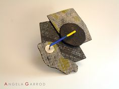 """------"""" Those Who Seek """" Brooch Magnetic----- Polymer Clay with the inclusion of new materials, metals and wire."""