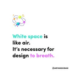 White space is like air. It's necessary for design to breath.  #ux #ui #uiux #uxui #uxdesign #uidesign #userinterfacedesign #userexperiencedesign #uxdesigner #uidesigner #app #designer #mobileapp #art #artist #dribbble #behance #adobe #sketch #interface #webdesign #uitrends #dailyui #dailydesign #instaui #graphicdesign #graphic #designinspiration #uxigers Ux Design, Graphic Design, Daily Ui, User Experience Design, User Interface Design, White Space, Mobile App, Breathe, Adobe