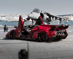 #Lamborghini Unveils Veneno Roadster on a Warship to People who Can Actually Afford It. Click on the #badass pic to find out more..