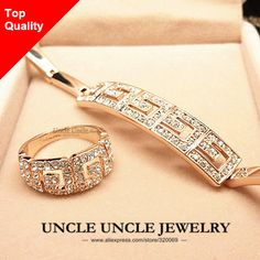 Brand Design Rose Gold Color Rome Style Austrian Crystal G Design Wedding Woman Jewelry Sets Bracelet / Ring Wholesale
