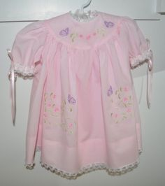 Handmade Baby Dress with Rounded Yolk and Embroidery Designs - 37018 GR
