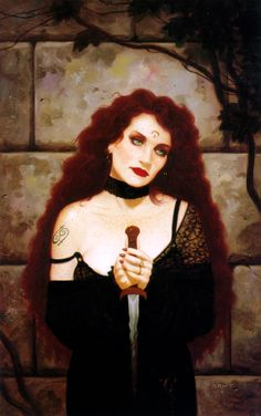 --In Greek mythology, Circe  is a minor goddess of magic (or sometimes a nymph, witch, enchantress or sorceress) (Art by Brom Gerald)