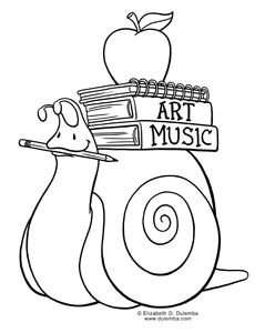 Coloring Page Tuesday! - Back to School Snail