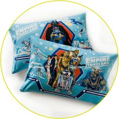 Vintage Star Wars 'Empire Strikes Back' Darth Vader, Boba Fett, Dark Side, sky blue pillow.