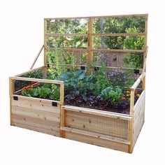 6 ft. x 3 ft. Raised Garden Bed with Trellis Lid, Natural Wood