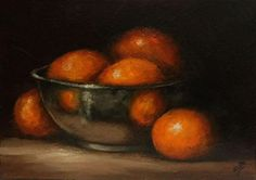 Clementines in Silver, J Palmer Daily painting Original oil still life Art