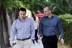 Wie wird die Geschichte über sie urteilen? Alexis Tsipras (links) und Giannis Varoufakis. Foto: Orestis Panagiotou (Keystone)