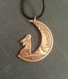 Hare pendant Hare in the Moon Moon Gazing Hare by Campsodella