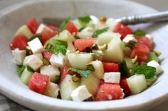 MELON-CUCUMBER SALAD on Americas-Table.com. It can be served cold or at room temperature, so its a perfect summer buffet salad  and its gluten free!