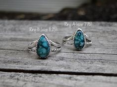 Turquoise Rings, Handmade Jewelry, Sterling Silver, Natural Turquoise