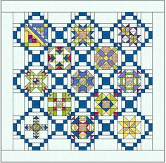 I like this setting for sampler blocks. A little too busy when assembled, though. Quilt Block Patterns, Pattern Blocks, Quilt Blocks, Star Blocks, Quilting Tutorials, Quilting Projects, Quilting Designs, Quilting Board, Quilting Room