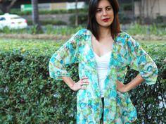 Turquoise Fruit Print Kimono, Kimono Cardigan, Kimono Jacket, Kimono Robe / Sheer Cover Up