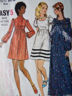 1970s shawl and dress vintage sewing pattern By Butterick   Bust 32 UK Seller