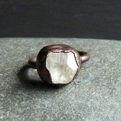 Topaz Ring Rough Stone Jewelry Copper Raw Crystal Size 5 Ring November Birthstone Ring Gemstone Rough Stone Jewelry