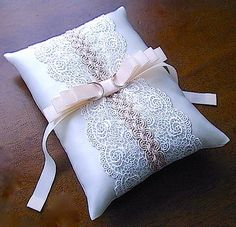 ateliersarah's ring pillow/Decorated the frame lace 2 color Ring Bearer Pillows, Ring Pillows, Wedding Pillows, Ring Pillow Wedding, Bridal Flip Flops, Lace Ring, Patchwork Baby, Cushion Ring, Flower Pillow