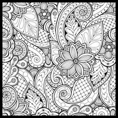 Doodle seamless background in vector with doodles, flowers and paisley. Vector ethnic pattern can be used for wallpaper, pattern fills, coloring books and pages for kids and adults. Black and white. Paisley Doodle, Pattern Coloring Pages, Coloring Book Pages, Doodle Patterns, Zentangle Patterns, Doodle Borders, Design Tattoo, Zentangle Drawings, Zentangles
