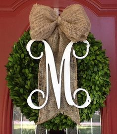 Faux Square Boxwood Wreath with Monograms by MLRDesignsbySharonP