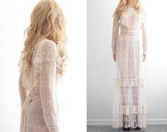 Crochet Lace Wedding Dress Crochet Dress Lace Dress Victorian Bohemian Wedding Dress Boho Wedding Dress Vintage Crochet Dress Wedding XS S by 2treasurehunt on Etsy https://www.etsy.com/listing/182334260/crochet-lace-wedding-dress-crochet-dress