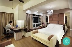 Creating a larger master bed room  Storage and seating by the window  Space Define Punggol