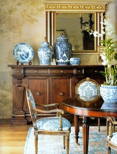 Find Out Why Michael S. Smith is Laughing All the Way to the Bank - laurel home | gorgeous dining room with blue and white Chinoiserie