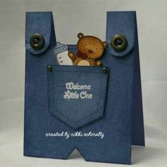 Pocket Fun using teddy bear and bottle for boy or girl bibs baby cards by nikkischmaltz - Cards and Paper Crafts at Splitcoaststampers New Baby Cards, Baby Boy Cards Handmade, Shaped Cards, Baby Shower Cards, Card Tags, Card Kit, Folded Cards, Creative Cards, Kids Cards