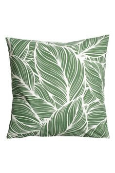Slub-weave cushion cover - Green/White patterned - Home All   H&M GB