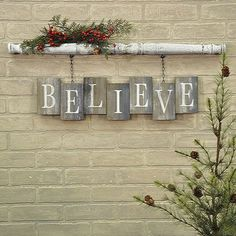 """BELIEVE Barn Board Bricks with Spindle Wall Sign Spindle has an antique white crackled paint finish Weathered and worn """"bricks"""" of reclaimed wood White stencilled letters x x Two clips on the back of the spindle make this item easy to hang Christmas Wood Crafts, Christmas Projects, Holiday Crafts, Holiday Decor, Christmas Wood Decorations, Christmas Pallet Signs, Christmas Ideas, Christmas Nativity, Holiday Signs"""