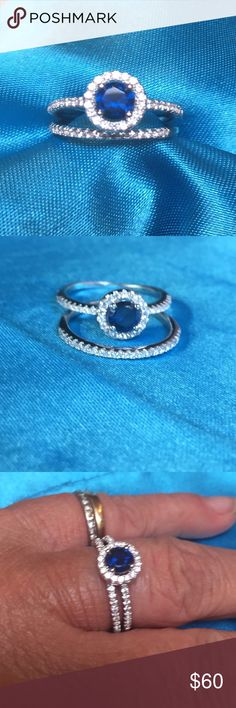 """SS Blue Lab Sapphire & CZ 2 Piece Halo Ring Set Bundle and save up to 30%! So pretty and very believable as the real deal! Rhodium plated Sterling Silver is Halo set with a LAB CREATED royal blue 5mm sapphire - NOT CZ- Surrounded by tiny clear, white and sparkling CZs. I tried to show the """"925"""" hallmark in one of the pics, but camera couldn't capture it. Size 6. NEW UNWORN CONDITION! Jewelry Rings"""