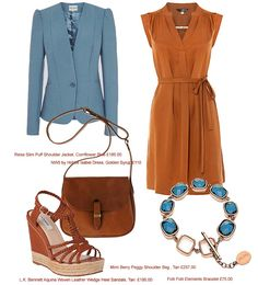 Spring Fashion UK 2013 to buy now! I've put together the perfect outfit of natural earth tones with a touch of petrol blue.  I love how these colours work together! An amazing everyday outfit or something different for the office, put together by Carren Lu.