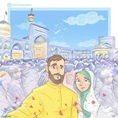 عشق میچسبد در صحن عقیق Anime Love Couple, Couple Cartoon, Girl Cartoon, Cartoon Art, Girl Hair Drawing, Anime Cupples, Islamic Cartoon, Cute Muslim Couples, Islam For Kids