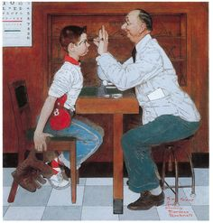 Painting inscribed:  To My Friend    From Sincerely, Norman Rockwell