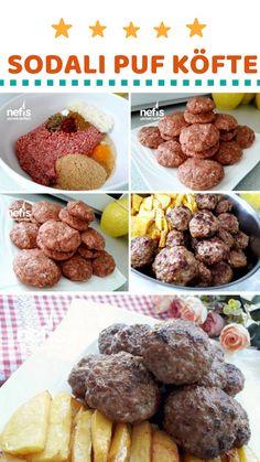 Sodalı Puf Köfte Tarifi nasıl yapılır? 230 kişinin defterindeki Sodalı Puf Köfte Tarifi'nin resimli anlatımı ve deneyenlerin fotoğrafları burada. Yazar: Mutfak Gülü Meatball Recipes, Meat Recipes, Appetizer Recipes, Turkish Kitchen, Romanian Food, Tasty, Yummy Food, Iftar, Turkish Recipes