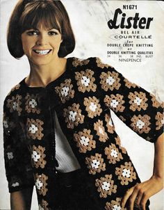 Vintage Lister Retro Crochet Pattern, Womens Granny Square Jacket in Crafts, Crocheting & Knitting, Vintage Patterns Cardigan Au Crochet, Crochet Jacket Pattern, Crochet Coat, Crochet Clothes, Crochet Patterns, Point Granny Au Crochet, Granny Square Crochet Pattern, Crochet Squares, Granny Square Sweater