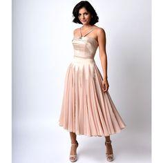 Iconic by Uv Champagne Satin & Chiffon Dovima Ballerina Swing Dress ($138) ❤ liked on Polyvore
