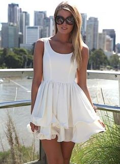 White Sleeveless Dress with Double Frill Hemline, Dress, frill dress sleeveless scoop back, Chic