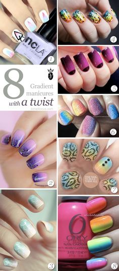 8 Best #Ombre and Gradient Nails With A Twist. Click for manicures info. #nailart