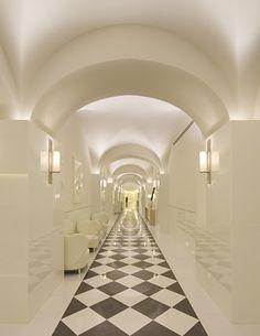 black and white tiled floor Ooooooh!
