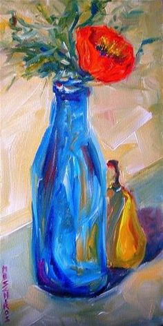 """""""Poppy and Pear"""" - oil by ©Mary Schiros (via DailyPaintworks)"""