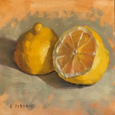 "Daily Paintworks - Original Fine Art © Elizabeth Osborne - Daily Paintworks – ""Lemon Halves"" – Original Fine Art for Sale – © Elizabeth Osborne - Fruit Painting, Lemon Painting, Paintings Of Fruit, Art Paintings, Food Art Painting, Lemon Art, Arte Sketchbook, Sketchbook Ideas, Sketchbook Inspiration"